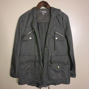 Olive green and gray mix utility jacket